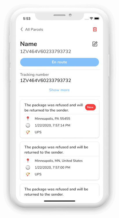 Screenshots of a tracking checkpoints of orders in Parcel Arrive